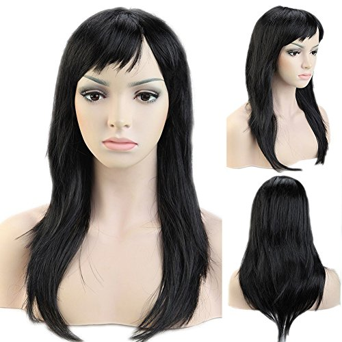 Cheap Diy Halloween Costumes For Girls (20'' / 20inch Cosplay Synthetic Wig with Bangs Long Straight 20 Styles Heat Resistant Fiber Vogue Layered for Women Girls Lady Halloween Anime Costume Party Date,Black)