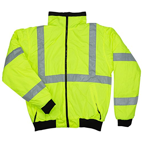 North 15 Men's High Visibility Safety Bomber Jacket, Fleece Lined-2003R-XL (Jacket Coat Reflective)