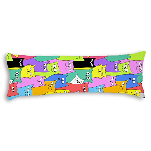Veronicaca Colorful Cats Custom Cotton Body Pillow Covers Pillow Cases 20'x54'