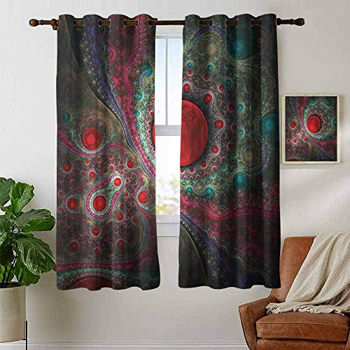 Blackout Curtains Pearls,Round Circle Object Motifs Sphere Forms Vintage Medieval Design Pearls Oyster Dark Print, Multi,Thermal Insulated Panels Home Décor Window Draperies for Bedroom 42