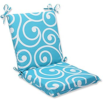 Pillow Perfect Outdoor Best Squared Corners Chair Cushion, Turquoise