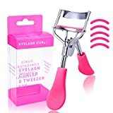Eyelash Curler with Refill Pads Lash Curlers Tool Travel Eye Lashes Clip Professional Stainless Steel Curled Cosmetic Makeup Accessory Long Lasting and Natural Looking Curl, Rose