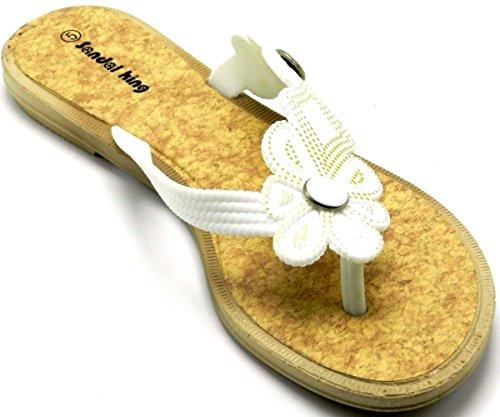 Kvinners Sommer Bhoemia Thong Søt Blomst Perler Tå Post Flip Flop Sko  Sandaler Flat White