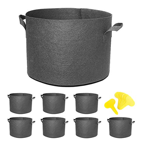 5 Gallon 8-Pack Plant Pot Black Grow Bags Fabric Pots for Potato Tomato Vegetables Planting W/Handles Hydroponics