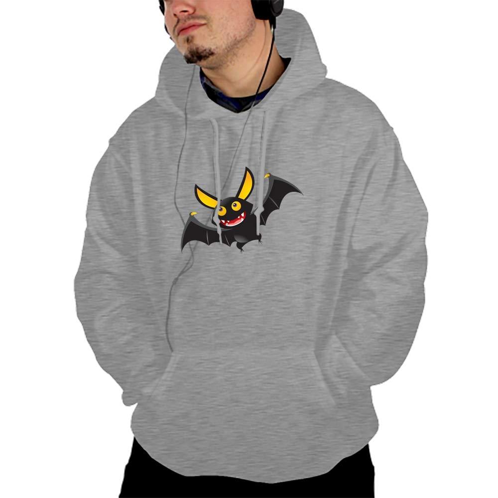 BDZC Mens Pullover Hoodies Casual Funny Halloween Bat Sports Outwear Sweatshirts Gray