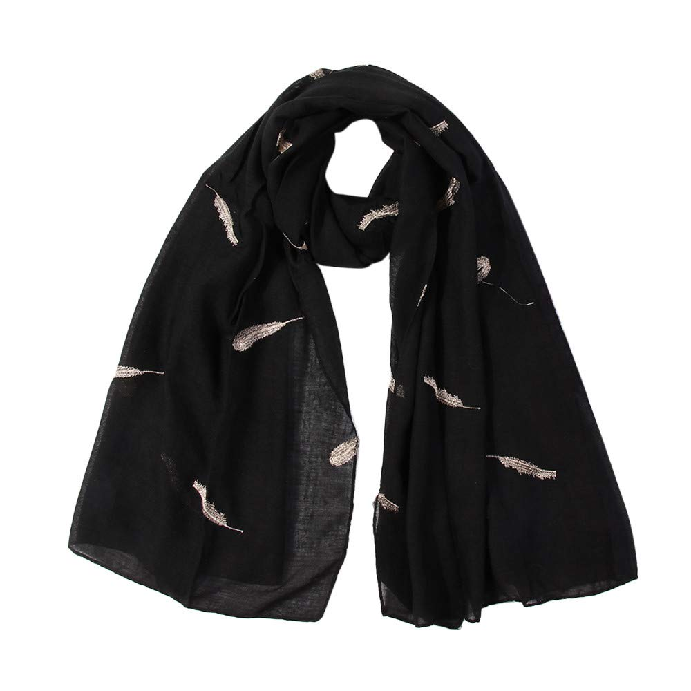Lovewe Women Feather Embroidered Scarf,Soft Shawl,Long Scarf (Black)