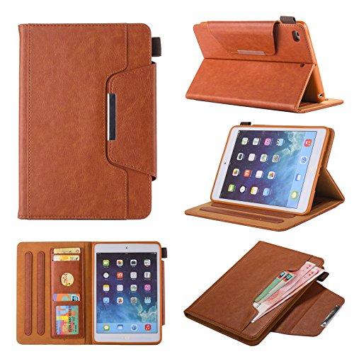 ipad Mini Case / mini3 Case/Mini 2 Case/Mini 4 Case/Chgdss [Corner Protection] PU Leather Folio Smart Cove Auto Wake/Sleep Multi-Angle Viewing/Card Slots, for Mini 1/2/3/4 - Brown