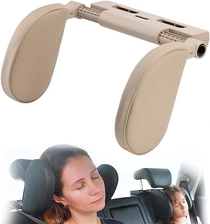 Hopeas Auto Kopfstütze Für Kinder Erwachsene Kissen Nackenstütze Autositz Verstellbar Beige Auto