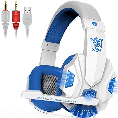 Gaming Headset – 7.1 Channel Headset, Head-Mounted Glow Game Headset, with Rotatable, Noise Reduction Mic, for PS4…