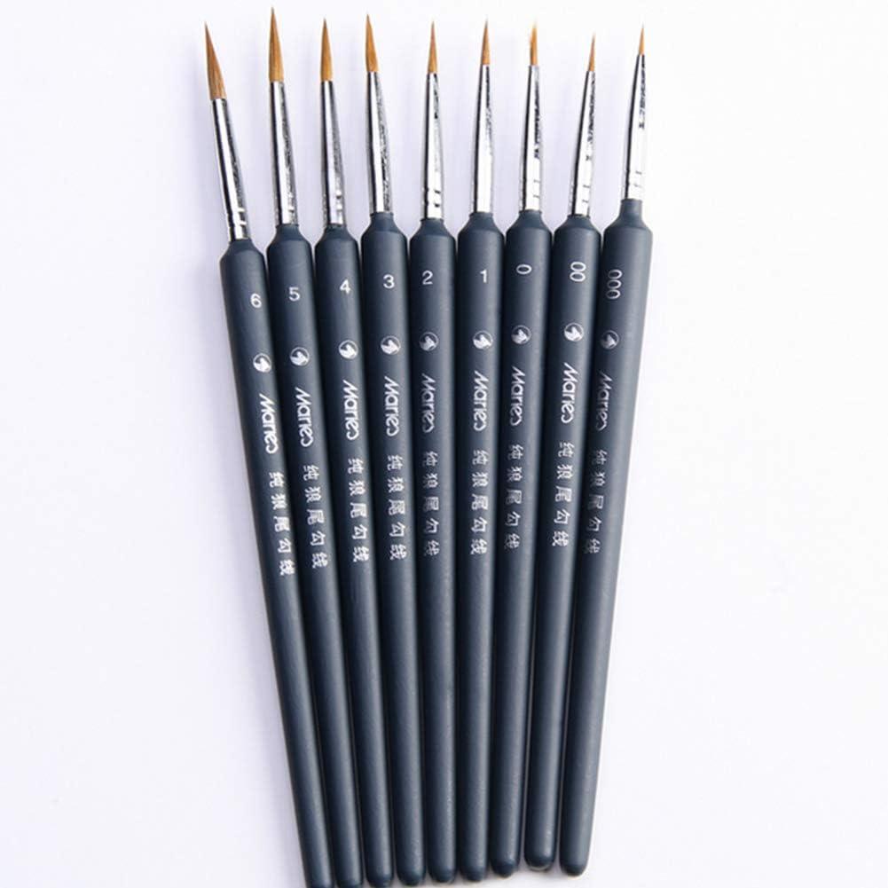gouache aquarelle huile acrylique mod/èles clous 9pcs D/étail brosse de peinture ensemble cheveux belette avec poign/ée triangulaire pour la peinture dart d/étail-miniatures