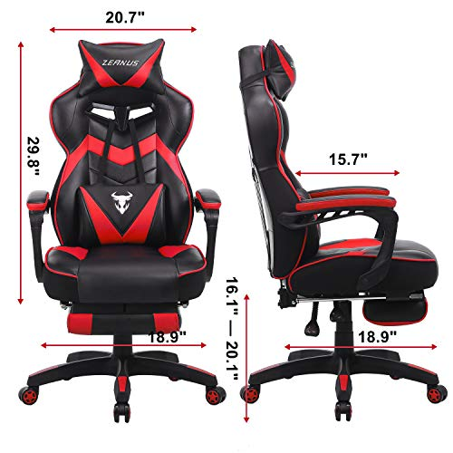 Ergonomic Gaming Chair with Footrest, Gaming Computer Chair with Massage, Recliner Computer Chair, High Back Gaming Desk Chair, Racing Style Gamer Chair, Big and Tall Gaming Chairs for Adults (Red)