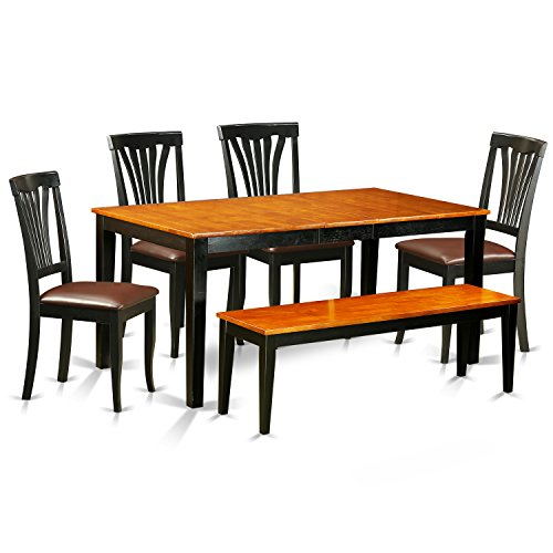 East West Furniture NIAV6-BCH-LC 6 Piece Kitchen Dinette Table and 4 Chairs Along with A Bench Set