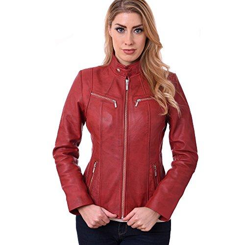 Para Gbg Rojo maroon Mujer Biker Chaqueta qF0FP7