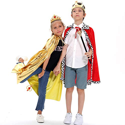 6 PCs Kids Halloween Costume King Queen Robe Cloak Sceptre Wand Crown Tiara Party Favors Fancy Costumes for Boys Girls for $<!--$17.99-->