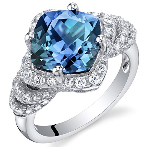 4.25 Carat Simulated Alexandrite Sterling Silver Tier Halo Ring Size 8