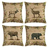 KACOPOL Retro Vintage Background Wildlife Squirrel Bear Elk Rabbit with Green Plants Throw Pillow Covers Cotton Linen Pillowcase Cushion Cover Home Decorative Square 18'' X 18'' Set of 4 (2)
