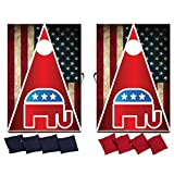 VictoryStore Cornhole Games - Republican Cornhole Game - Republican American Flag Bag Toss Game - 8 Bags Included - Wooden Boards