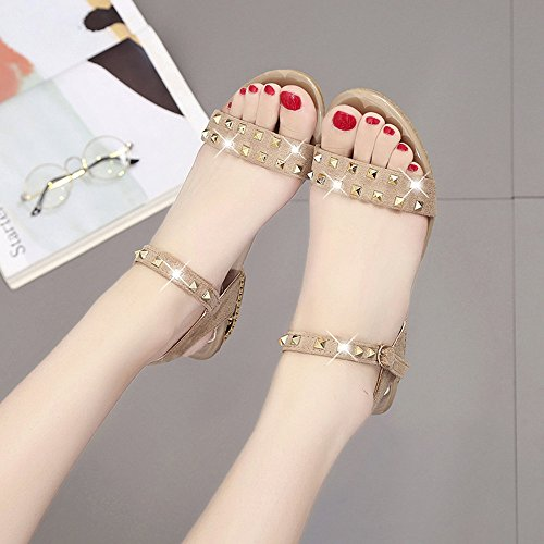 DéContractéEs Beige DC Rivet Beautyjourney Shoes Tongs Med DéCoration Femme Sandales Serpent Ouvertes Shoes Sandales Heeled Sandales Jolie Semi FwqUTwz1f
