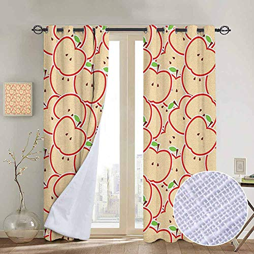 NUOMANAN Kitchen Curtains Apple,Healthy Refreshing Fruit from Orchard Abstract Cartoon Drawing Organic, Apple Green Beige Red,Rod Pocket Drapes Thermal Insulated Panels Home décor 84