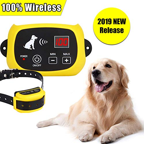 YHPOYLP Wireless Dog Fence Electric Pet Containment System, Safe Effective Adjustable Control Range 1600ft Tone/Vibration/Shock Design, Rechargeable & Waterproof Collar Receiver - Shock Yellow Adjustable