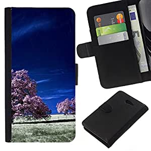 YiPhone /// Tirón de la caja Cartera de cuero con ranuras para tarjetas - Los campos púrpuras - Sony Xperia M2
