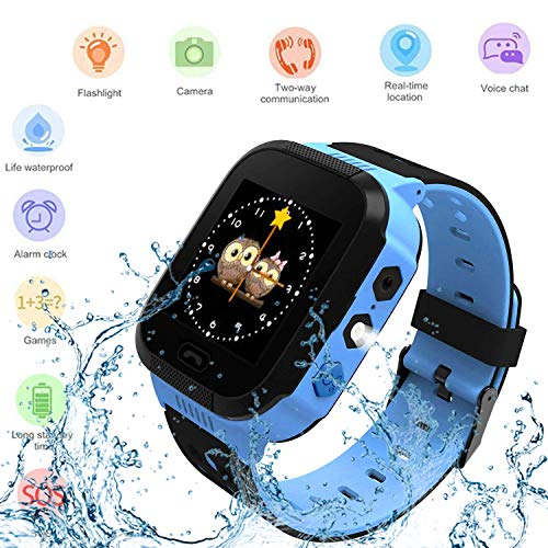 Qoco Kids Smartwatches, Smart Fashion Watches for Girls and Boys, Phone Calls, Voice Chat, Camera, SOS, Alarm, Maths Games with DND Mode and LBS Locator, Children Wrist Watch-Blue