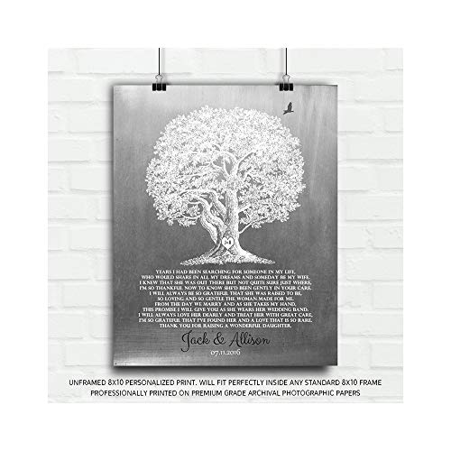 Thank You Gift for Brides Parents Gift from Groom for Mother of Bride Large Oak Faux Aged Tin Custom Art Print 1416-8x10 Unframed Custom Paper Art Print ()