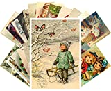 Vintage Christmas Greeting Cards 24pcs Funny Lovely Kids Christmas Portraits Reprint Antique Postcard Set
