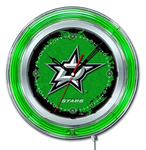Holland Bar Stool Co. Dallas Stars HBS Neon Green Hockey Battery Powered Wall Clock (19