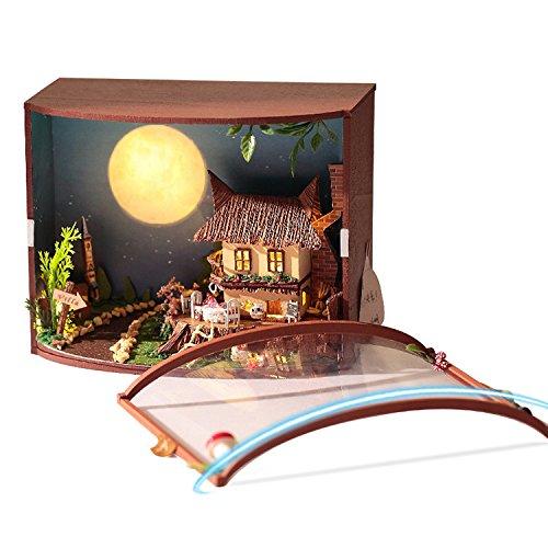Hecho a mano de montar rompecabezas juguetes con LED DIY Casa de muñecas en miniatura kits de muebles casa de muñecas DIY...