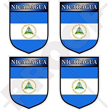 """NICARAGUA Escudo Centroamérica 50mm (2"""") Pegatinas de Vinilo Adhesivos, Stickers, Calcomanias"""