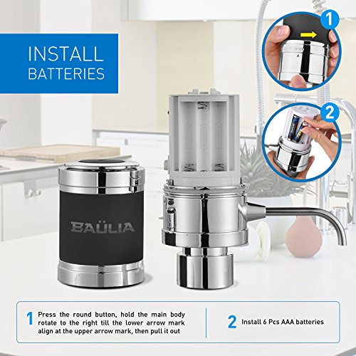 Baulia WA819 Electric Aerator – One Touch Operation Instantly Allow Wine to Breath, Pump Dispenser with Vacuum Sealer, Silver by Baulia (Image #5)