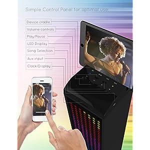 Sharper Image SBT1014BK Sound-Responsive Bluetooth Tower Speaker with Animated LED Lights (Black)