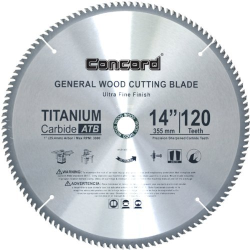 Concord Blades WCB1400T120HP 14-Inch 120 Teeth TCT General Purpose Hard & Soft Wood Saw Blade