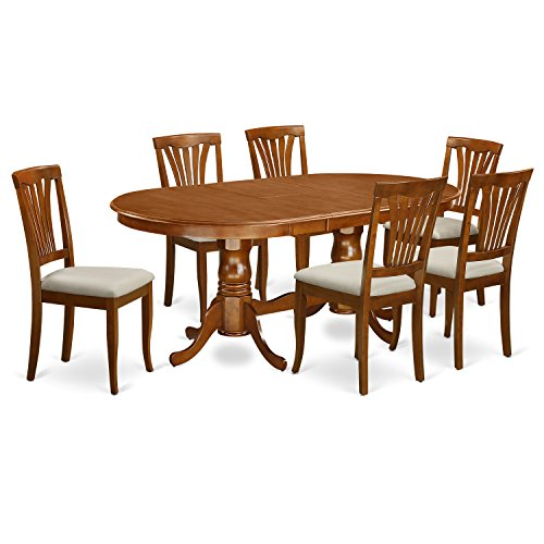 East West Furniture PLAV7-SBR-C 7-Piece Dining Room Table Set ()