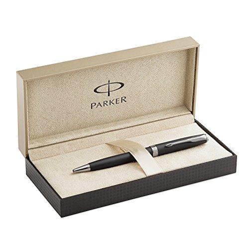 Parker Matte Black Lacquer with Chrome Colour Trim, Ballpoint Pen with Medium Black Refill (S0818140)