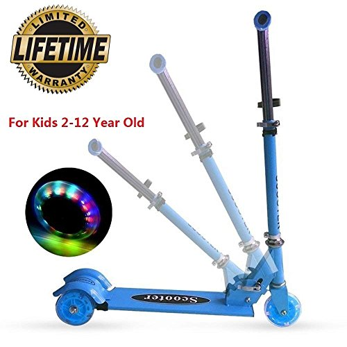 Kick Scooter For Kids, 3 Wheel Scooter with PU ABEC-7 Flashing Wheels, Lean To Steer 3 Adjustable Height Mini Kick Scooter, Aluminum Alloy Scooter with Safe Rear Brake For Children 2-12 Year Old