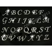 PICK ANY 5 letters-Cursive alphabet letters Clear Rhinestone Iron on Hotfix Transfer
