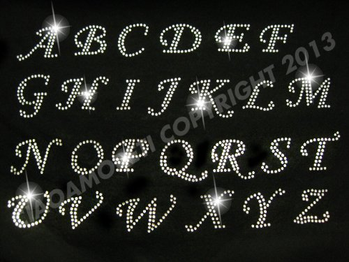 Pick 15 letters Cursive Alphabet Letters Appx 2 Inches Clear Rhinestone Iron on Hotfix Transfer Decal Handmade USA by Rococo Designs