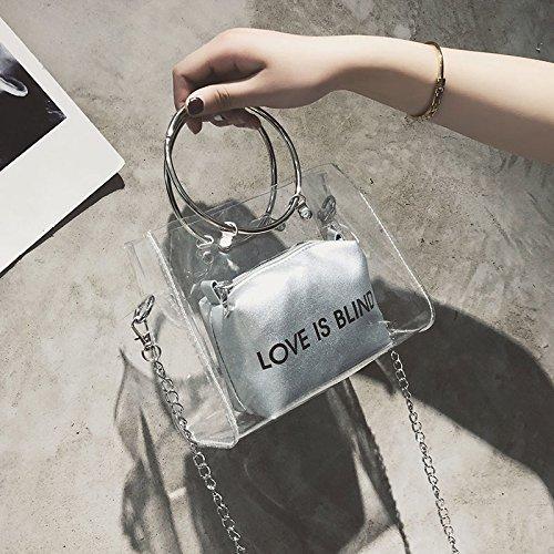 Composite Shoulder Bag Crossbody For Money Lady Cutogain PVC Women's Transparent Fashion Coin Silver O5qwExTx