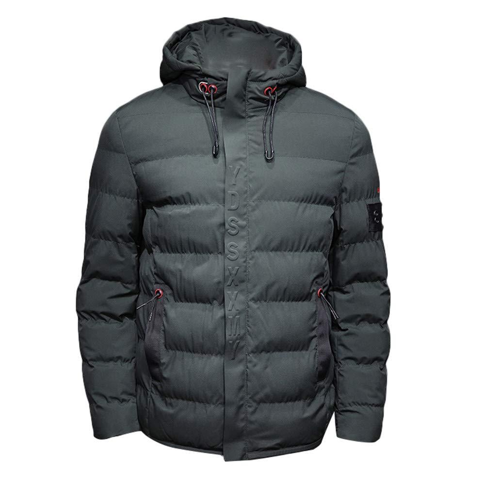 St.Dona Men Coat Men's Autumn Winter Pure Color Pocket Zipper Hooded Jacket Outwear Tops