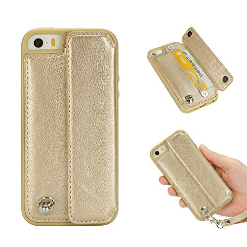 Magnetic Cushion Grip - Leather Wallet Case for iPhone 5S,iPhone SE Case,iPhone 5 Case,Ostop Credit Card Holder Slim PU Shell with kickstand,Magnetic Flip Cover with Wrist Strap Dual Layer Shockproof Protective-Matte Gold