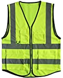 Misslo 5 Pockets High Visibility Zipper Front Breathable Safety Vest with Reflective Strips, Neon Yellow (Large)