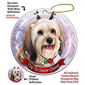 Holiday Pet Gifts Cream Tibetan Terrier Dog Porcelain Christmas Ornament 16