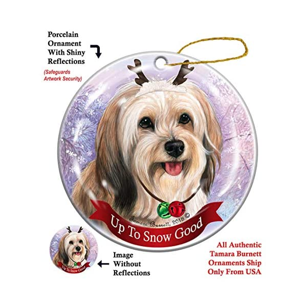 Holiday Pet Gifts Cream Tibetan Terrier Dog Porcelain Christmas Ornament 1