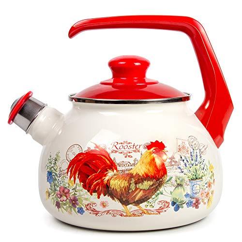 Enamelware Tea Kettle - Whistling Tea Kettle Stovetop Rooster Enamelware Kettle 2.7-qt. (2.5 L)
