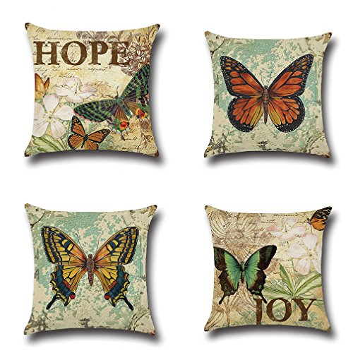 Baroncover 4 Pack Vintage Style Home Decor Cotton Linen Butterfly Pattern Throw Pillow Covers 18x18