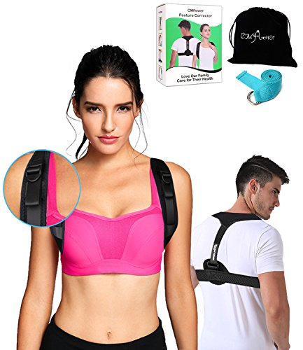 CMflower Posture Corrector 2018 New Easy Adjust Buckle Design Unnoticeable Back Brace with Yoga Strap and Carry Bag Breathable Soft Material for Men Women Kids to Correct Hunching Slouch Bad Posture by CMflower