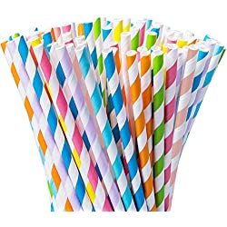 Besteek 200 Pcs Paper Straws Striped Rainbow Straws Cute Party Straws for Party Supplies Juices, Shakes, Smoothies, Arts & Crafts