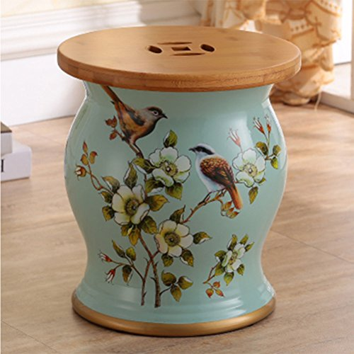 ch-AIR Stool Yellow Ceramic Drum Stool Home Craft Porcelain Vanity Dressing Stool Shoe Bench Decoration Storage Hand-Painted Table Pier Leisure Stool Sofa Foot 27X31CM 0612A (Color : Gray Blue)